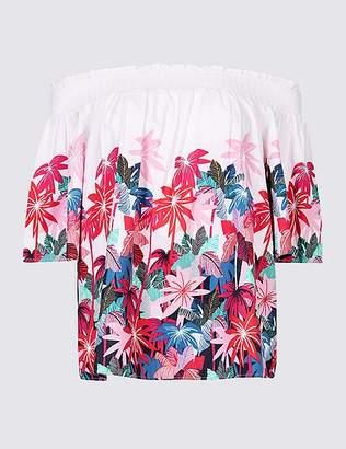 Marks and Spencer Floral Print Half Sleeve Bardot Top
