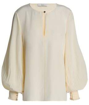 Tibi Pleated Silk Crepe De Chine Blouse