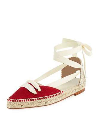 Manolo Blahnik Castaner x Flat Lace-Up Two-Tone Espadrille