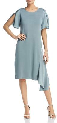 Nic+Zoe Mixed Media Asymmetric Flutter Dress