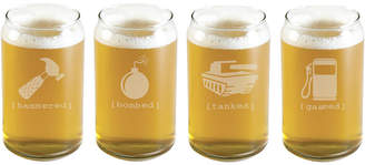 Susquehanna Glass Set Of Four Mr. Tipsy Glass Beer Cans