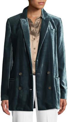 Brunello Cucinelli Double-Breasted Liquid Velvet Oversized Jacket