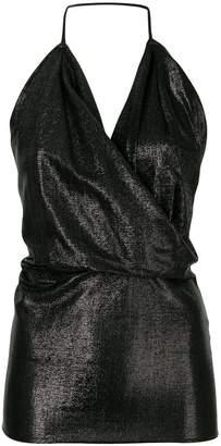 Rick Owens Lilies metallic cowl-neck top