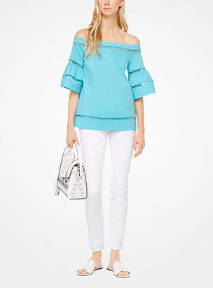 Michael Kors Eyelet Cotton-Poplin Off-The-Shoulder Top