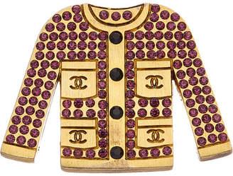 Chanel Gold-Tone & Purple Crystal Jacket Pin