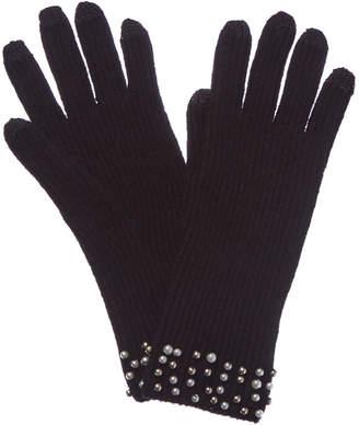 Qi Black Pearl-Trimmed Cashmere Gloves