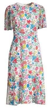 Elie Tahari Sabrina Floral Butterfly Sleeve A-Line Dress
