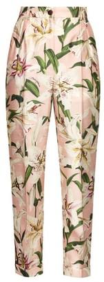 Dolce & Gabbana High Rise Floral Print Shantung Trousers - Womens - Pink Multi