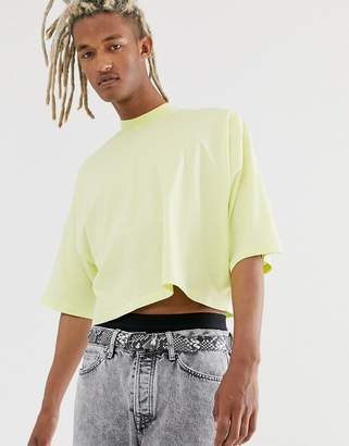 Asos Design DESIGN oversized crop t-shirt with mid sleeve and high neck in pale yellow