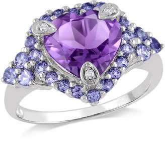 Concerto Amethyst and Tanzanite Heart Ring with 0.015 CT. T.W. Diamonds