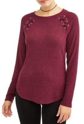 No Boundaries Juniors' Grommet Lace-Up Scoop Neck Rib Knit T-Shirt