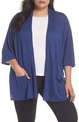 Sejour Side Slit Open Front Cardigan (Plus Size)