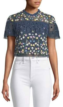 Needle & Thread Tiered Anglais Floral-Embellished Cocktail Top