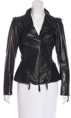 Gianfranco Ferre Leather Zip-Up Jacket
