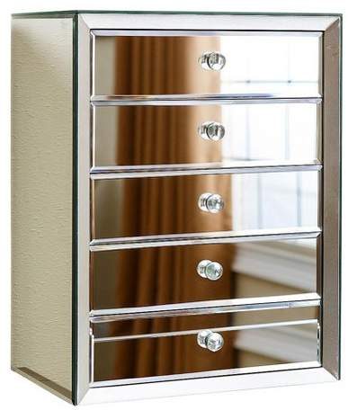 Abbyson Living Ofelia Mirrored 5 Drawer Jewelry Box - Silver - Abbyson