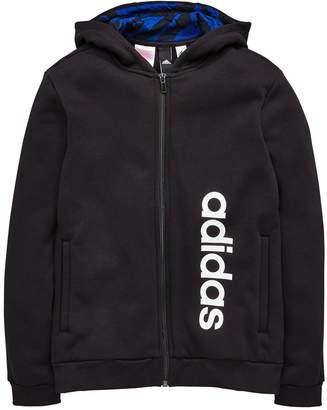adidas Boys Linear Zip Hoodie - Black