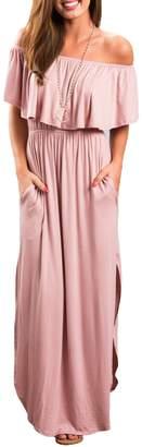 OYANUS Womens Off The Shoulder Ruffles Pockets Dress Side Split Maxi Dresses XL