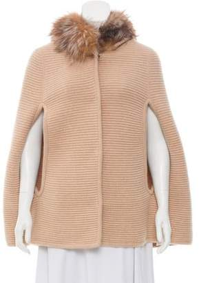 Annabelle Fur-Trimmed Wool Poncho