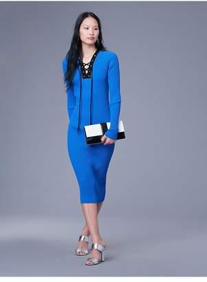 Diane von Furstenberg Long-Sleeve Lace Up Sweater Dress