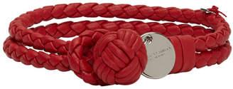 Bottega Veneta Red Intrecciato Knot Bracelet
