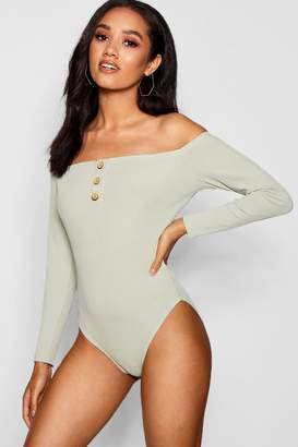 boohoo Petite Poppy Long Sleeve Mock Horn Bodysuit