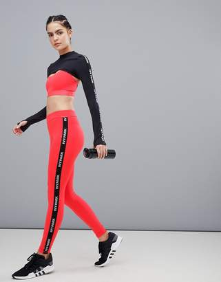 Ivy Park Active Logo Taped Side Stripe Leggings In Red