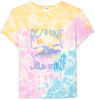 Solid & Striped Re/done The Venice Printed Tie-dyed Cotton-jersey T-shirt - Pink