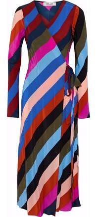 Striped Silk Crepe De Chine Midi Wrap Dress