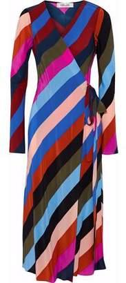 Diane von Furstenberg Striped Silk Crepe De Chine Midi Wrap Dress