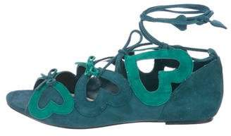 Isa Tapia Suede Wrap-Around Sandals