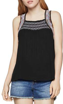 BCBGeneration Embroidered Smocked Top