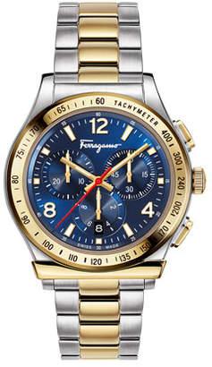 Salvatore Ferragamo Men's 1898 Two-Tone Chronograph Bracelet Watch, Blue