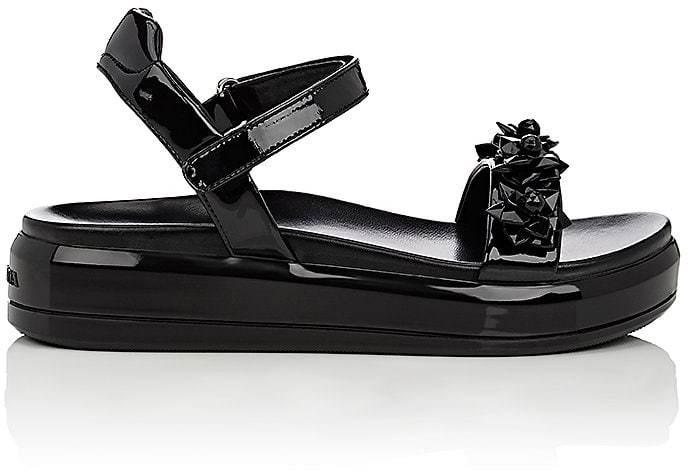 pradaPrada Women's Flower-Embellished Patent Leather Platform Sandals