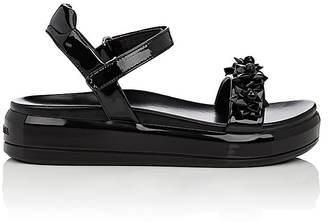 Prada Women's Flower-Embellished Patent Leather Platform Sandals $850 thestylecure.com