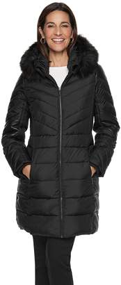 London Fog Tower By Women's TOWER by Faux-Leather Trim Puffer Jacket
