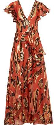 Temperley London Audrey Ruffled Metallic Silk-blend Jacquard Gown