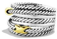 David Yurman Double X Crossover Ring with Gold $450 thestylecure.com