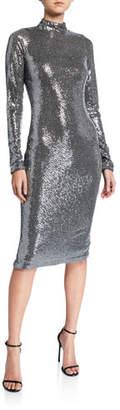 Badgley Mischka Sequin Mock-Neck Long-Sleeve Sheath Dress