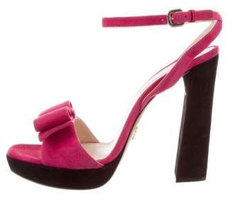 Prada Bow-Accented Suede Sandals