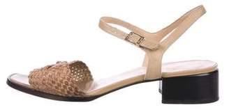 Salvatore Ferragamo Woven Ankle Strap Sandals