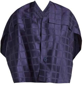 Issey Miyake Square Neck Draped Back Grid Jacquard Jacket - Womens - Navy