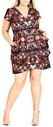 City Chic Geo Print Tunic Dress
