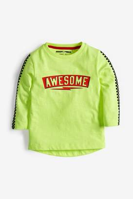 Next Boys Neon Long Sleeve Awesome T-Shirt (3mths-7yrs) - Yellow