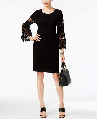 Alfani Lace-Sleeve A-Line Dress
