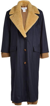 we11done Wool Coat with Shearling Collar