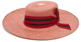 Sensi Studio - Trinado Ribbon Trim Straw Boater Hat - Womens - Red