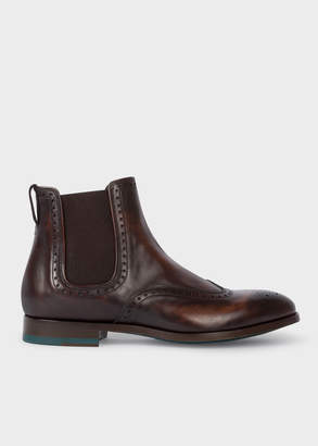 Paul Smith Men's Dark Brown Leather 'Bedford' Chelsea Boots