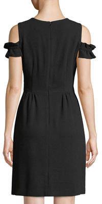 Tahari ASL Cole-Shoulder Ruffle-Sleeve Mini Dress