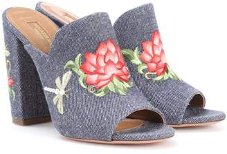 Aquazzura Lotus 105 embroidered denim mules
