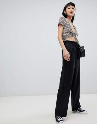 Pull&Bear wide leg palazzo pants in black